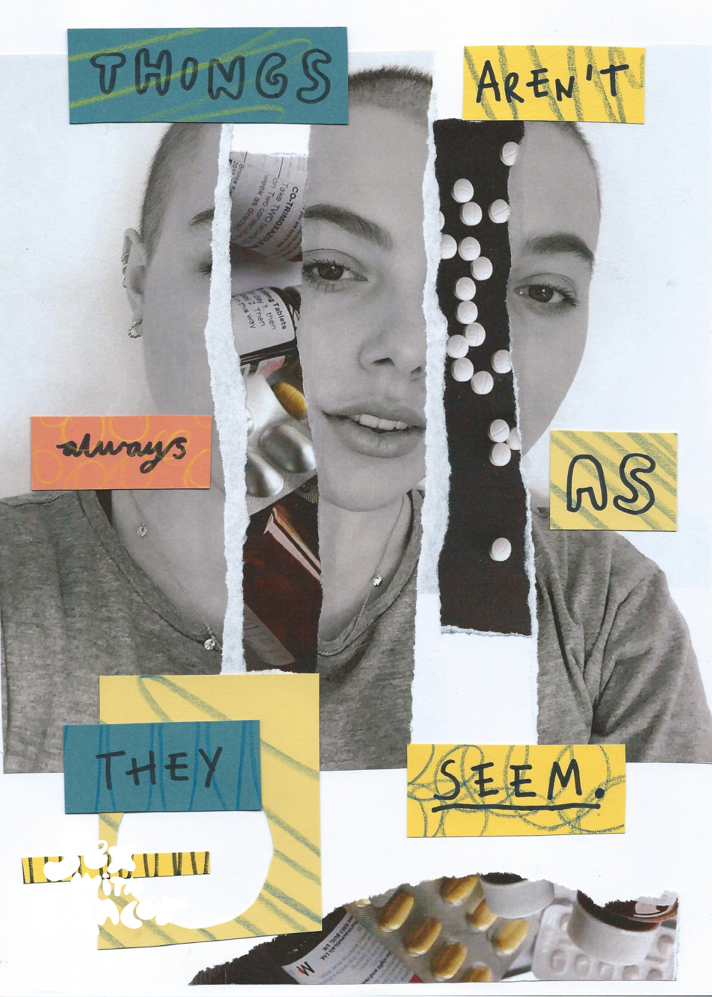 """Collage featuring a black and white photo of a young person's face with the text """"Things aren't always as they seem"""""""