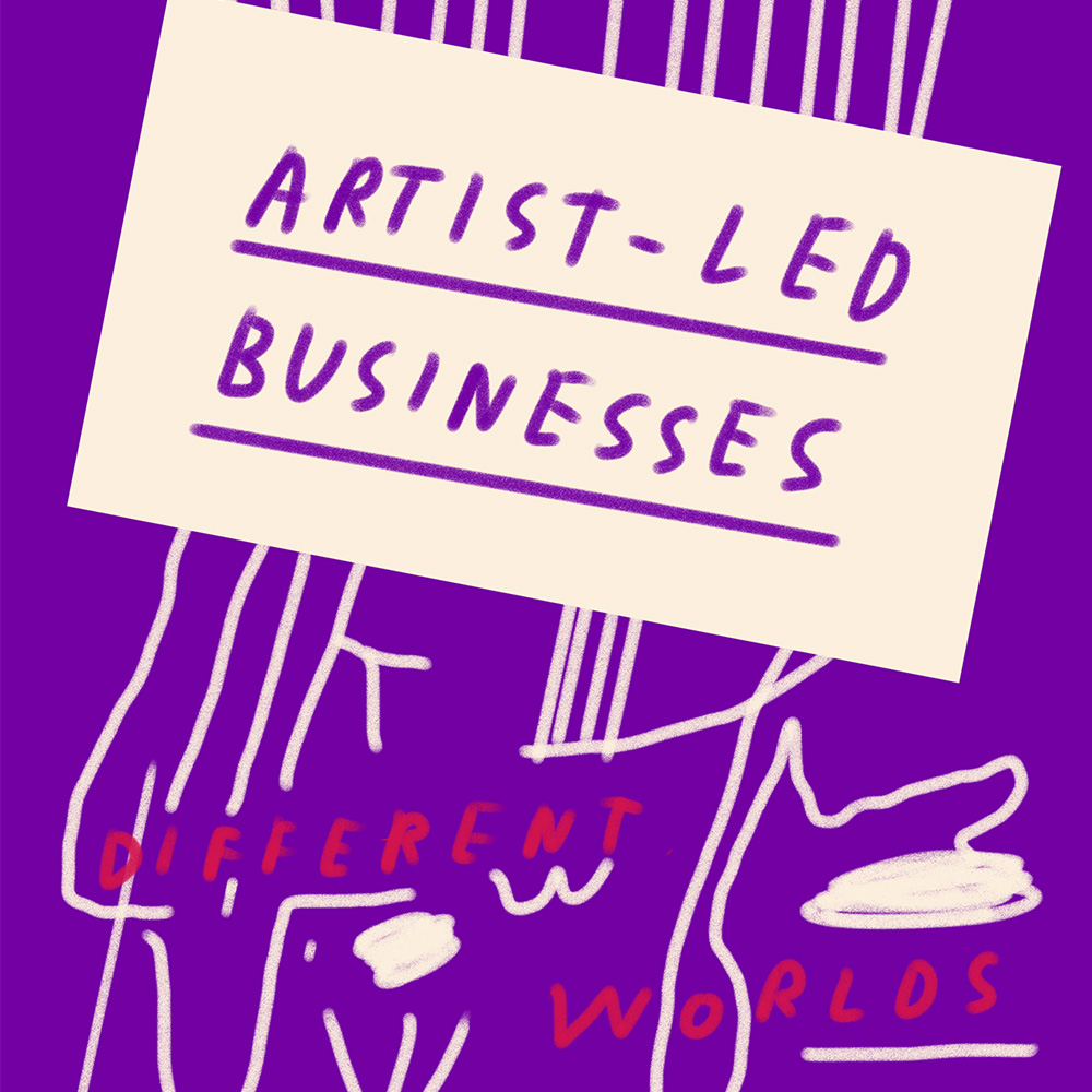 """Illustration that reads """"Artist-led businesses - Different Worlds"""""""